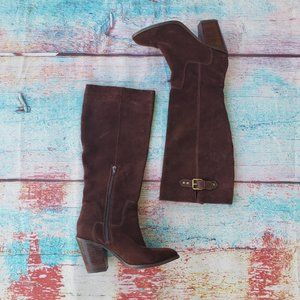 Kelsi Dagger Leather Suede Heeled Riding Boots 9.5